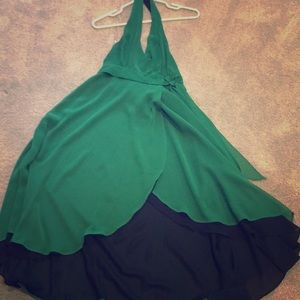 Chiffon green halter tea length dress szM